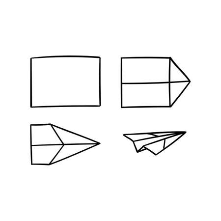 Simple paper planes set tutorial line art doodle style - isolated vector illustration