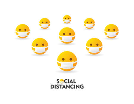 Group of emoticons wear protection mask and keep distancing to prevent spreading the virus covid-19. Social distancing text - isolated vector illustration