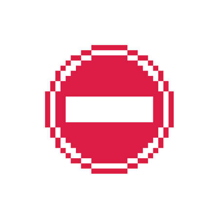 Pixel art 8-bit simple red stop traffic sign icon - isolated vector illustration Ilustrace
