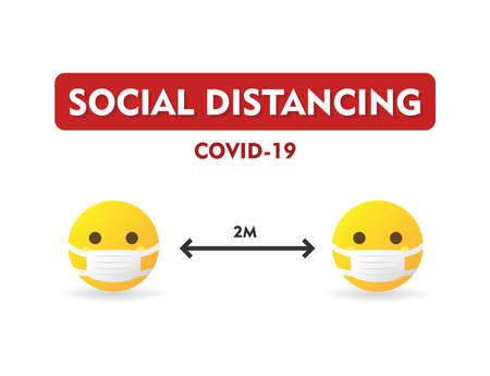 Social distancing COVID-19, keep distance at least 2 meters in public society people to protect from coronavirus spreading. Yellow emoticons wearing medicine masks - isolated vector illustration