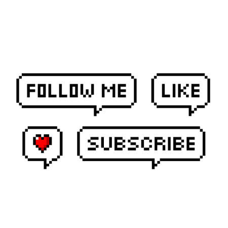 Pixel art 8-bit retro game style speech bubbles set with text. Follow me, like, heart, subscribe - isolated vector illustration