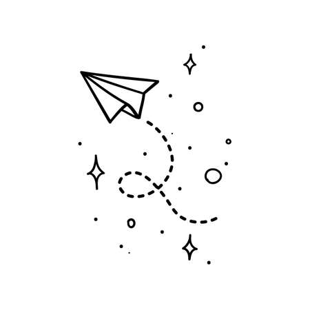 Doodle style paper plane with tracing line flying in space with stars - isolated vector illustration
