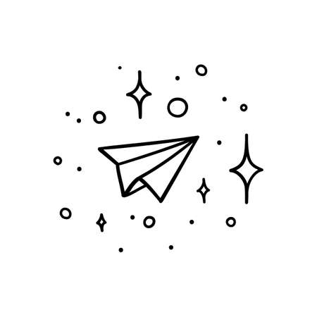 Doodle style paper plane flying in space with stars - isolated vector illustration Ilustrace