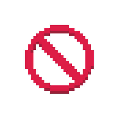 Pixel art 8-bit red stop sign crossed circle warning - isolated vector illustration