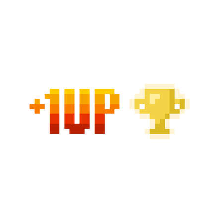 Pixel art 8-bit 1 level up and winner golden cup icon on white background - isolated vector illustration Ilustrace