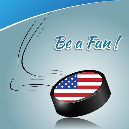 puck: Ice hockey puck with a national flag. Vector puck element.
