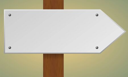 indicator board: Blank road sign. Wooden pole with blank sign. Vector traffic road sign.