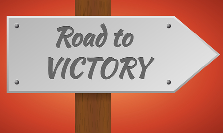 traffic pole: Road to victory sign. Wooden pole with a sign. Vector traffic road sign. Road to victory. Illustration