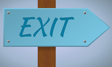exit sign: Exit sign. Wooden pole with exit sign. Vector sign element. Illustration