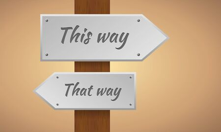 this: This way and that way sign. Wooden pole with this way and that way sign. Vector sign element.