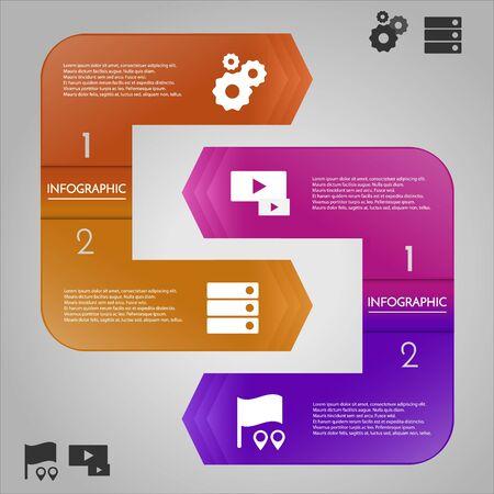 レイアウトやテンプレートの使用可能なアイコンを持つインフォ グラフィック テンプレート。情報アイコンとバナー。4 つのオプションのビジネス コンセプトです。