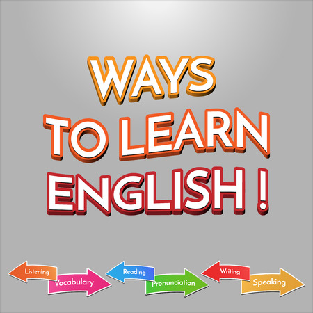 pronunciation: Ways to learn English sign vector. Vector illustration for children. School subjects arrows.