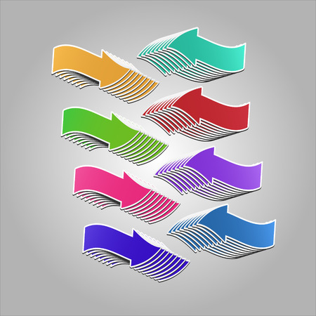 feature: Colorful arrows pointing at  each other. Vector arrows created with blend feature.