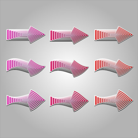 distort: Colorful arrows in different shapes. Vector arrows created with blend feature.