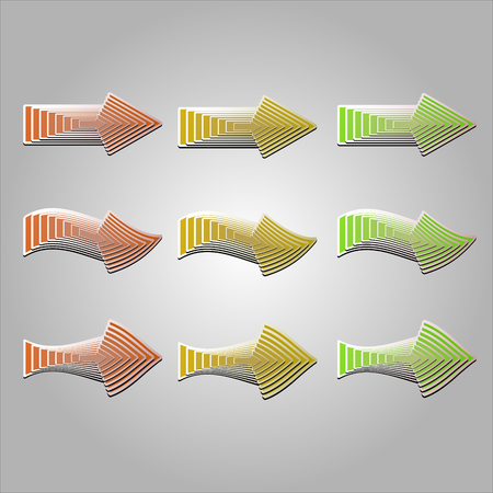blend: Colorful arrows in different shapes. Vector arrows created with blend feature.