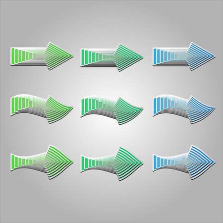 feature: Colorful arrows in different shapes. Vector arrows created with blend feature.
