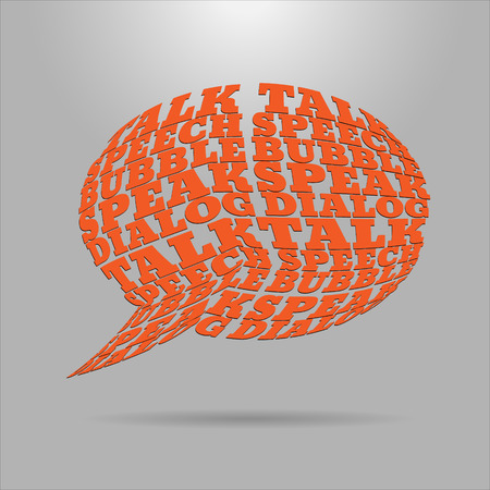 distort: Shaped letters vector. Text wrap effect. Chat bubble created with envelope distort feature. Illustration