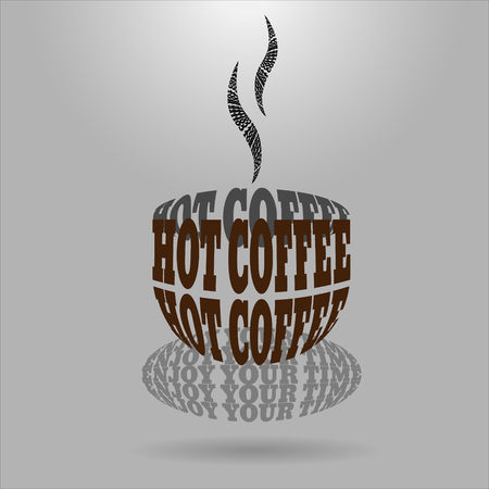 distort: Shaped letters vector. Text wrap effect. Coffee created with envelope distort feature.