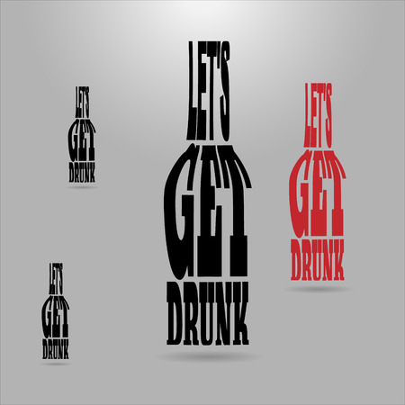 distort: Shaped letters vector. Text wrap effect. Flask created with envelope distort feature. Illustration