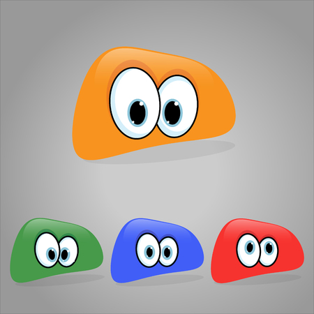 blue eyes: Vector illustration. Set of shaped emoticons. Rounded smilies.