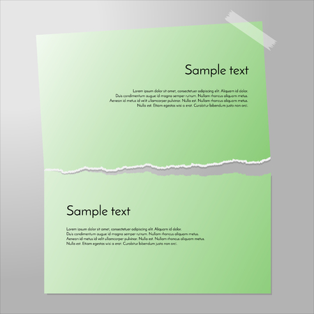 sticky tape: Torn paper vector. Sheet cut in half. Piece of paper on the wall with sticky tape. Green paper banners. Illustration