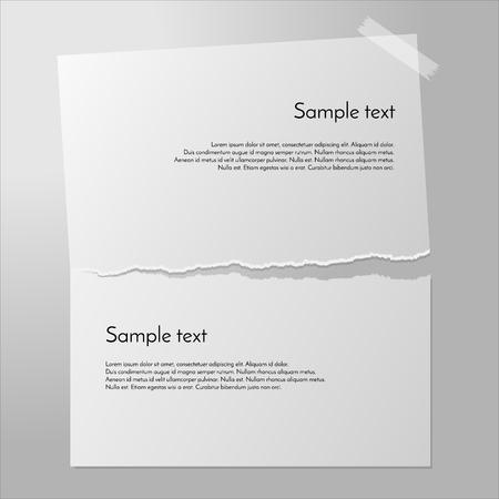 vector de papel rasgado. Página reduce a la mitad. Pedazo de papel en la pared con cinta adhesiva. Romper el papel aparte. Banderas de papel blanco.