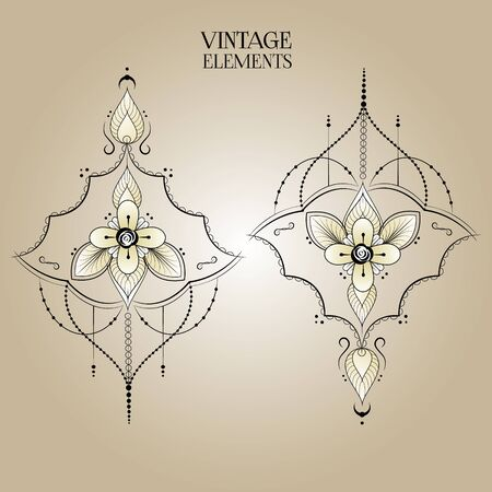 Rounded ornament elements. Vintage decorative design. Retro geometric vector.Oriental floral template. Illustration