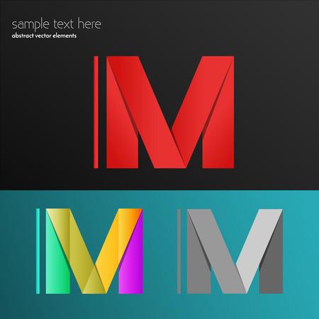 Alphabet letter M. Paper effect. Abstract colorful font. Dynamic vector element paint. Illustration