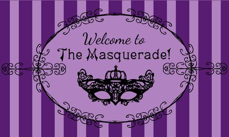 Invitation to the masquerade with black carnival mask on violet lines background