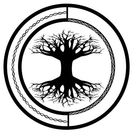 Scandinavian pagan symbol - yggdrasil, world tree - in the ornamental circle Illustration