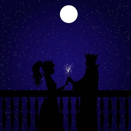 King and queen or prince and princess standing opposite each other and lighting sparklers. Full moon and starry night behind them Vettoriali