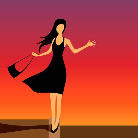 Girl in black evening dress walking on the curb and waving hand. colorful sunset sky, wind blowing