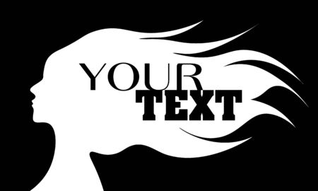 Black and white logo template with text on the silhouette of woman Illustration