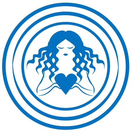 Blue logotype in water circles with curly woman holding heart