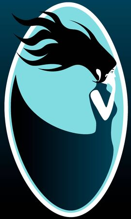 Profile of sad woman with long black hair and dark blue dress