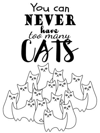 Poster or print design for cat person with cartoon cats