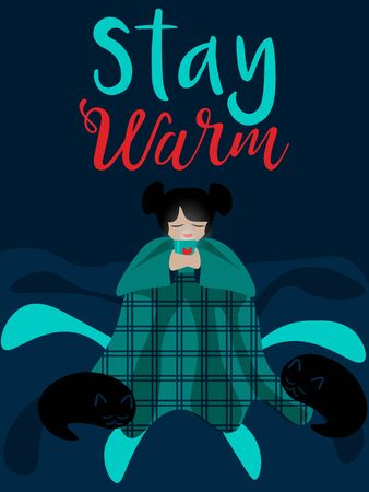 Cozy illustration for cold weather with girl sitting under blanket and drinking tea, coffee or cocoa