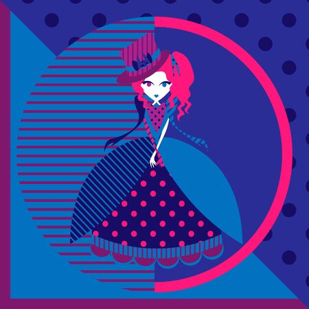 Cartoon girl in colorful gown and hat in pink and blue colors Ilustração