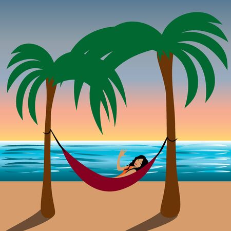 Two palms, sunset sky, sea, hammock and smiling woman lying in it and waving her hand  イラスト・ベクター素材