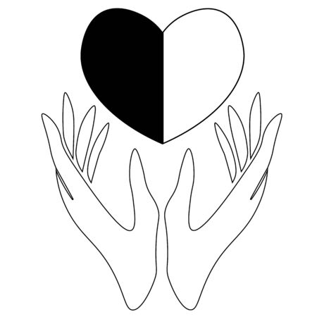 Line art of two hands holding half-black and half-white heart Ilustracja