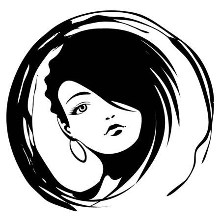 Icône de grunge noir et blanc avec visage de femme