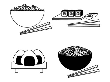 Black and white illustrations of japanese cuisine with dishes and chopsticks