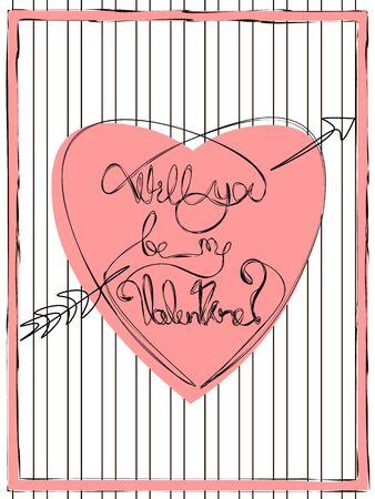 Valentine's card with doodle text 'will you be my valentine' on simple lines background Vektoros illusztráció