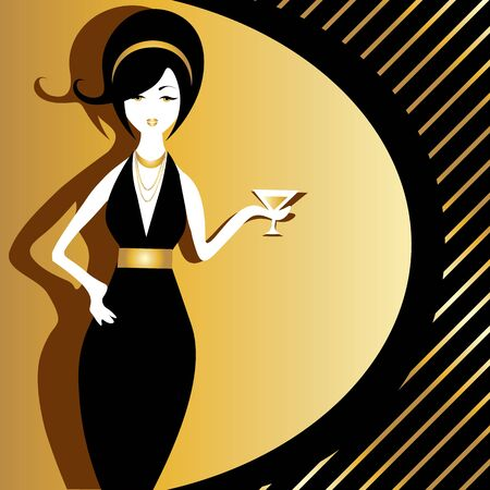 Attractive vintage woman in black dress and jewelry with martini