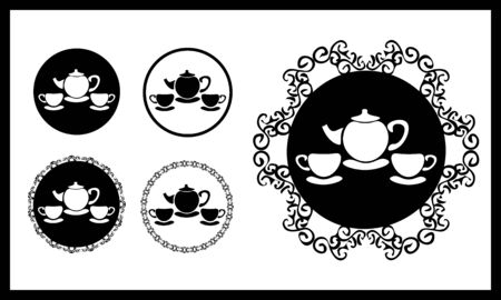Simple monochrome icons with silhouette of teapot and two cups