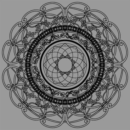 Beautiful symmetric black mandala in eastern style on grey background Ilustrace