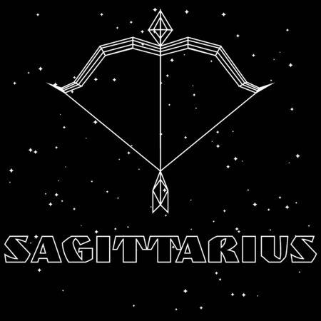 Minimal white geometric bow and arrow, zodiac sign sagittarius, on starry sky background