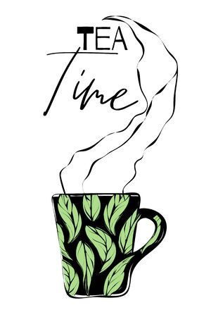 Black cup with drawn tea leaves and steam, text `tea time`