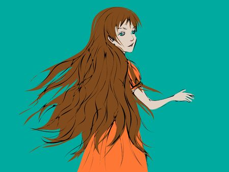 Cartoon girl with long light brown hair blown by wind turning back