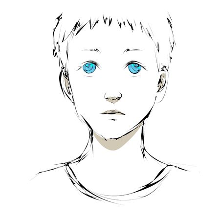 Sketch of young boy with blue eyes and sad expression